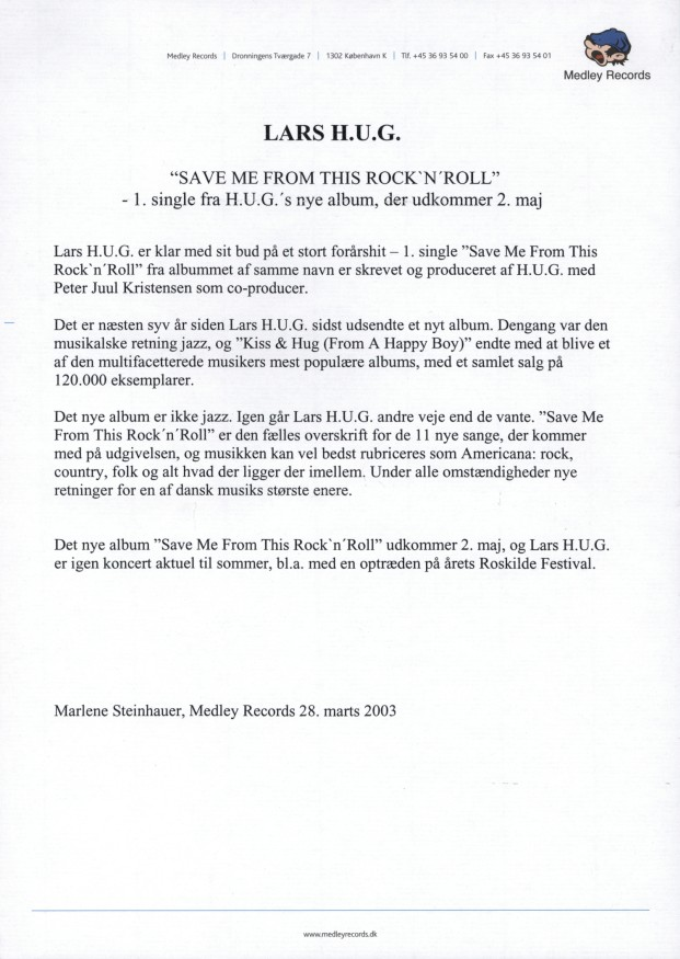 Save Me From This Rock'n'roll (cd-single) - Pressemeddelelse